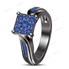 14k Black Gold Finish Studded And Blue Sapphire Square Engagement Wedding Ring…