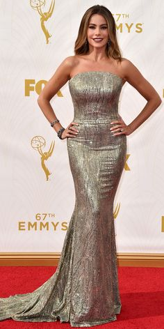 Sofia Vergara - Emmys 2015 Red Carpet Arrivals - in Saint John and Lorraine Schwartz jewelry - from InStyle.com