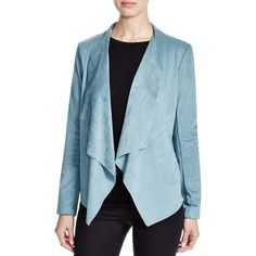 Bagatelle Draped Faux Suede Jacket ($37) ❤ liked on Polyvore featuring outerwear, jackets, dolphin, drape jacket, drapey jacket, blue jackets, faux suede jacket and open front jacket