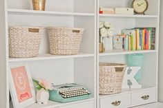 Love the baskets, K letter, clock, and the pretty flowers. Very girly. Love color scheme.