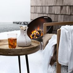Eva Solo FireGlobe Outdoor Fireplace Design Eva Solo's FireGlobe outdoor fireplace creates a cozy and pleasant atmosphere and warms cool nights on the patio or in the garden. The design… Outdoor Fireplace Designs, Fireplace Cover, Fireplace Built Ins, Shiplap Fireplace, Limestone Fireplace, Farmhouse Fireplace, Fireplace Hearth, Fireplace Remodel, Fireplace Inserts