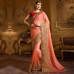 Buy Peach Big Border Embroidered Party Wear Saree at Rs. 2723- Get latest Partywear Saree for womens at Ethnic Factory. ✓Genuine Products ✓ Easy Returns ✓ Best Pricing