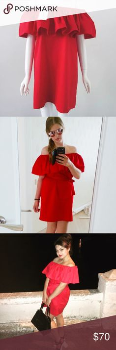 Tulum off the shoulder dress  //NWT//❤️ PRODUCT DESCRIPTION   DETAILS: Cotton // DRY CLEAN ONLY Off the shoulder Ruffled // Not   Free People Brand // Only listed for exposure -  ALSO AVAILABLE IN GREEN Free People Dresses Midi