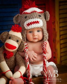 Traditional Sock Monkey Hat for Baby by SweetandSimpleLoops, $15.00---- Need this made!!!