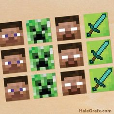 FREE Printable Minecraft Cupcake Toppers, perfect for a 10th birthday party for boys!