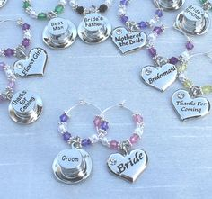 Wedding Favours Sets - Personalised Champagne \ Wine Glass Charm Wedding Favours - Do It Yourself