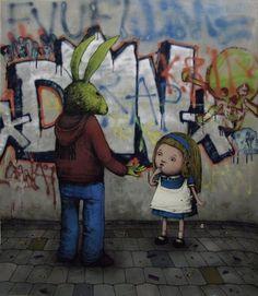 Dran: Use work Behavior company Graffiti Art, Graffiti Tagging, Banksy, Satire, Art Manifesto, Green Rabbit, Boy Character, French Artists, Street Artists