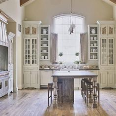My Dream Kitchen! Elegant But Simple French Country Kitchen In White With  Glass Front Cabinets And Rustic Wood Island