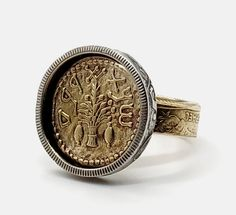 Biblical lemon Tree Was Discovered in Archaeological Excavations Near Jerusalem, Ring for Women, Gold Ring, Women Ring, Coin Ring Coin Jewelry, Etsy Jewelry, Jewelry Accessories, Handmade Jewelry, Jewelry Design, Unique Jewelry, Coin Ring, Rings For Girls, Coin Pendant