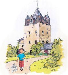 Tintin et Milou en ballade à la Tour de Moriensart