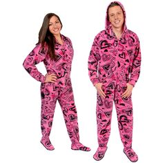 Sketchy Hearts Hooded Fleece Adult Footed Pajamas with Drop Seat -  LIMITED  SIZES  Pajamas 439fd9a85