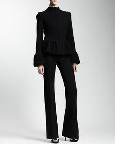 Waffle-Knit Peplum Jacket, Cap-Sleeve Blouse with Detachable Collar & Faux-Pocketed Pants by Alexander McQueen at Neiman Marcus.
