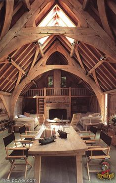 This beautiful oak frame barn conversion with arch-braced collar trusses, is in Devon, England. Seagull House was designed by architect Roderick James; great idea for a small home or cabin Ideas De Cabina, Cabins And Cottages, Log Cabins, Log Homes, Interior Architecture, Amazing Architecture, Interior Design, Installation Architecture, Chalet Interior