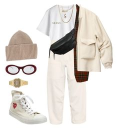 """""""Untitled #339"""" by youraveragestyle ❤ liked on Polyvore featuring Y's by Yohji Yamamoto, STELLA McCARTNEY, R13, Yvonne Koné, H&M, Converse, Forever 21, Gucci, Luna Skye and Casio"""