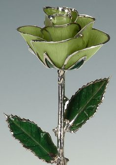Light Green Platinum Rose by Living Gold  Real by LivingGoldCo