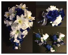 Blue White Lily Silk Rose Flower Wedding Bridal Bouquet Cascade Package 21pc  | eBay
