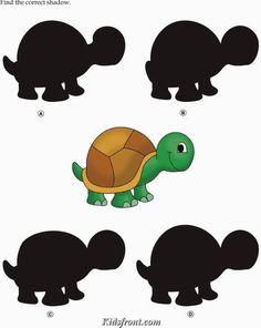 Kids Activity -Match the shadow of Tortoise, Black & white Picture Kindergarten Learning, Kindergarten Math Worksheets, Preschool Learning Activities, Worksheets For Kids, Toddler Activities, Kids Learning, Hidden Pictures Printables, Math For Kids, Kids And Parenting