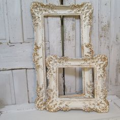 White ivory gold painted picture frames shabby by AnitaSperoDesign, $380.00