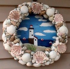 Shelled Litehouse Wreath by CarmelasCreations on Etsy