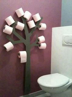 Super cute toilet Paper Tree. A little bit of toomers in your own bathroom!
