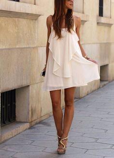 0abf04375435 Description Season  Summer Pattern Type  Plain Sleeve Length  Sleeveless  Color  White Dresses Length  Short Style  Party Material  Polyester  Neckline ...