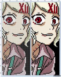 Фенечка Tokyo Ghoul, Cross Stitch Art, Cross Stitch Patterns, Cross Stitching, Modele Pixel Art, Perler Bead Art, Perler Beads, Pixel Art Grid, Minecraft Pixel Art