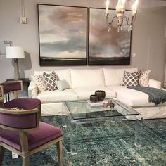 #Love the amethyst touch with ink blue and aqua. Our Jenna sectional is such a versatile slipcovered frame and this Moderne cocktail table is clearly #awesome!  http://www.highfashionhome.com/jenna-slipcover-sectional-dyno-white.html  http://www.highfashionhome.com/moderne-cocktail-table.html