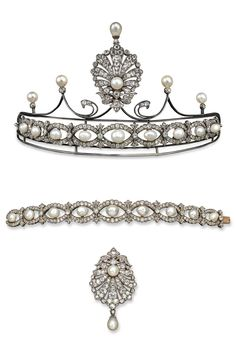 An antique pearl and diamond set tiara with bracelet conversion, 19th century. The bracelet set with nine natural salt water pearls, each within an oval shaped surround of graduated cushion shaped diamonds. Can be worn as a tiara when attached to the frame which is set with four cultured pearls and small diamonds, with a natural pearl and diamond set stylised shell form section which detaches to be worn as a pendant. Metal frame, the shell form section and bracelet set in silver and gold.