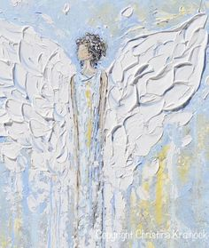 """Angel Beside You"" Giclee Print Canvas original art abstract guardian angel painting vintage spiritual white blue grey farmhouse home decor wall art Christine"