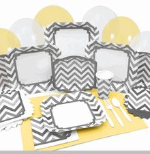 Chevron Gray Baby Shower Tableware Here are some Ideas... * Use as background to paste pictures  * Paste shower game instructions. * Paste yellow paper over the white area and run a ribbon thru to create an indoor banner for a few dollars rather than $20 something