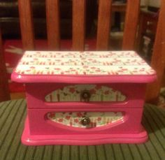 Bright Pink - Upcycled Wooden Jewelry Box