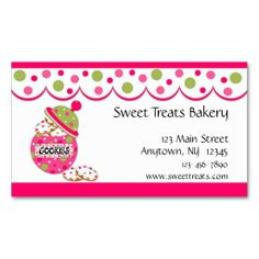 Cookie Jar, Pink Business Card. I love this design! It is available for customization or ready to buy as is. All you need is to add your business info to this template then place the order. It will ship within 24 hours. Just click the image to make your own!