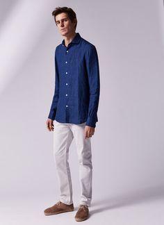 Camisa de lino índigo