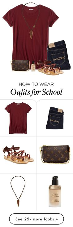 """""""outfit for school tomorrow"""" by lilypackard on Polyvore featuring Hybrid, Abercrombie & Fitch, K. Jacques, NEST Jewelry, Too Faced Cosmetics and Louis Vuitton"""