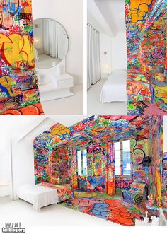 This is a room at the Hotel Au Vieux Panier in Marseilles decorated by French street artist Tilt.