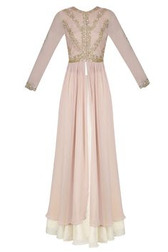 Champagne color floral embroidered anarkali and cream skirt set available only at Pernia's Pop Up Shop.