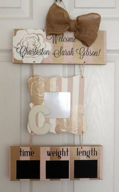 This door hanger is approximately 12 wide with a 21 drop. It is made to hang on the door to the birthing suite and announce your new bundle of joy in