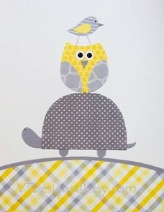 Nursery Art, Kids Wall Art, Baby Room Art Decor, Children's Art, Owls, Grey and Yellow, We Love You to the Moon and Back, 8 x 10 Print. $14.00, via Etsy.