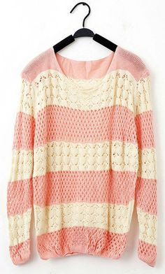 Wholesale Sweet Style Loose-Fitting Color Splicing Openwork Fish Net Knitting Sweaters For Women (PINK,ONE SIZE)