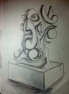 Excercise making a proportional drawing, The object is made out of Styrofoam