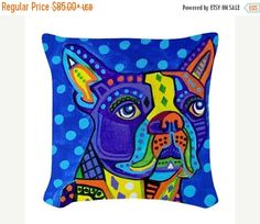 50% Off Today- Boston Terrier Art Pillow - - - Dog - Modern Abstract Art by Heather Galler