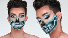 Neon Skull Makeup By James Charles Half Sugar Skull Makeup, Half Skeleton Makeup, Skeleton Makeup Tutorial, Skeleton Face, Looks Halloween, Halloween 2018, Halloween Stuff, Halloween Costumes, Creepy Halloween