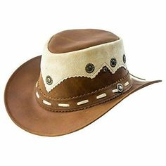 """This is a Real Oily Leather Cowboy Bush Hat Western Aussie Style Leather Hat Material: High Quality Real Cowhide Oily leather 100% Genuine Leather Grommets for ventilation ensures breath-ability Inner stretch band for comfort & protection Band: Leather band with Conchos accents reinforces the cowboy look Free Chin Strap (Removable) Brim: 3"""" Colour: Light brown Unique design for a stylish look Leather Cowboy Hats, Western Cowboy Hats, Leather Gloves, Cowgirl Boots, Leather Working, Real Leather, Sons Of Anarchy, Leather Accessories, Black And Brown"""
