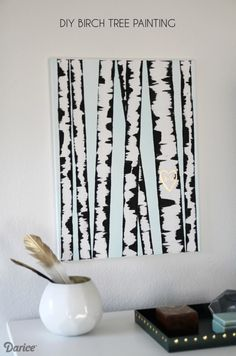 Learn how to make your own super simple, super fun birch tree DIY wall art painting. It looks great and is hard to mess up - we'll show you how!