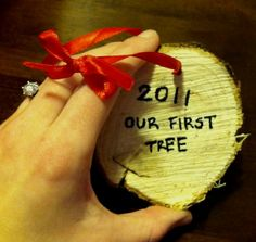 "Great idea for ""Our First Tree"" keepsake - need to do this for our first Christmas in our new house!"