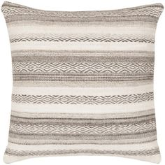 Great accent for modern and rustic home decor - Diego Woven Grey Stripe Floor Cushions