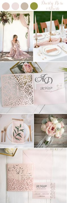 Artful dusty rose pink and blush spring and summer wedding colors with invitation ideas#blushpink#dustyrose#trends2018#weddings#elegantweddinginvites#invitations