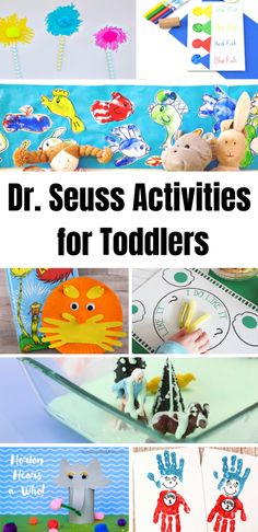 Dr Seuss Activities for Toddlers and preschoolers. A fun selection of Dr Seuss activities and Dr Seuss crafts for preschoolers and toddlers. Dr Seuss Activities, Infant Activities, Kindergarten Activities, Fun Activities, Preschool Curriculum, Reading Activities, Toddler Preschool, Toddler Crafts, Preschool Crafts