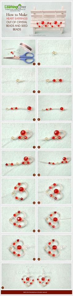 How to Make Heart Earrings Out of Crystal Beads and Seed Beads