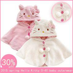 Cheap 2015 Moda 0 3Y hola ropa del gatito de la niña, capa de lana del cabo de vestir niño niña suaves para abrigo ropa de abrigo, ropa de bebé, Compro Calidad Chaquetas y Abrigos directamente de los surtidores de China:
